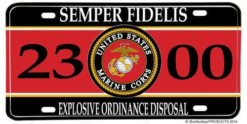 US Marines MOS 2300 Explosive Ordinance Disposal License plate