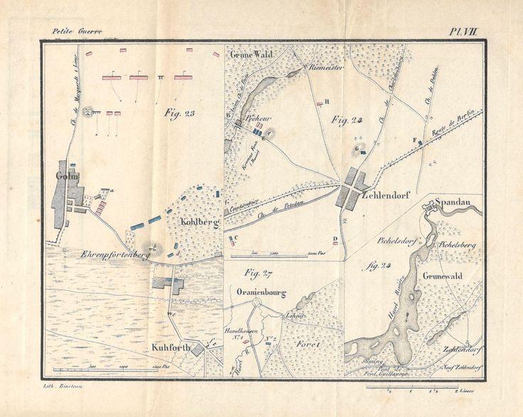 """Source : Decker, """"De la petite guerre"""" (1845), Planche VII, citée par ex. p. 214, pour la fig. 27. Se rapporte au livre second, chap. IV, 2. Protection d'un dépôt d'approvisionnement de guerre."""