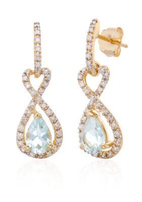 Belk & Co. Women Aquamarine & Diamond Promise Infinity Earrings In 10K Yellow Gold - Aqua - One Size