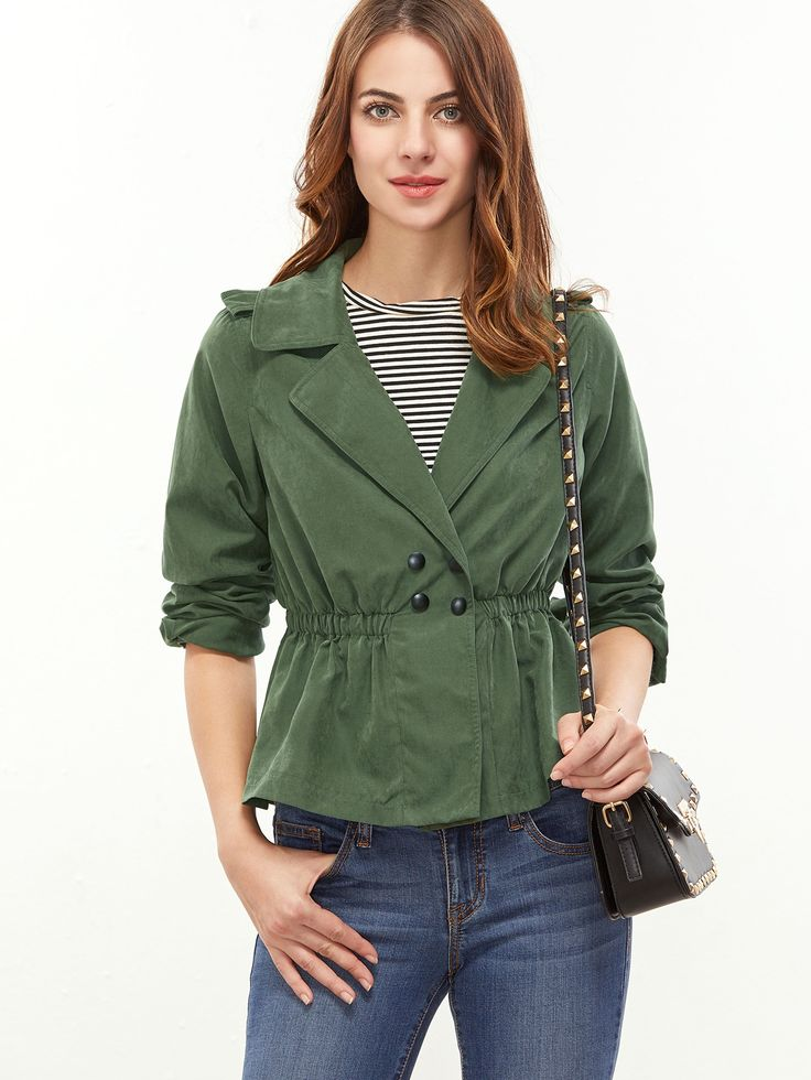 30$  Buy now - http://di569.justgood.pw/go.php?t=15687 - Green Notch Collar Double Breasted Elastic Waist Jacket 30$