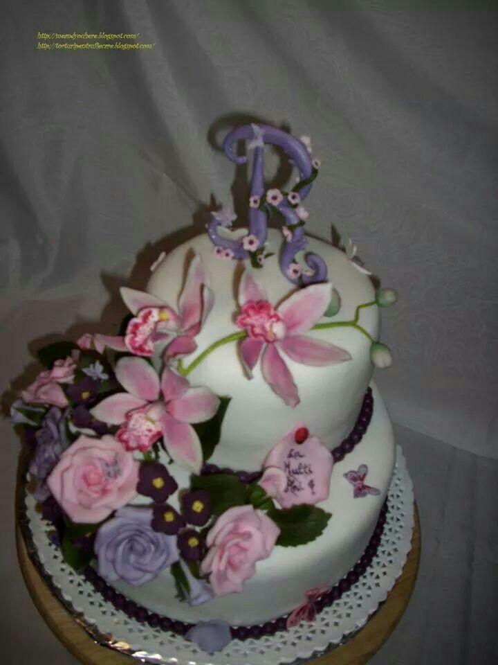 Tort trandafiri orhidee