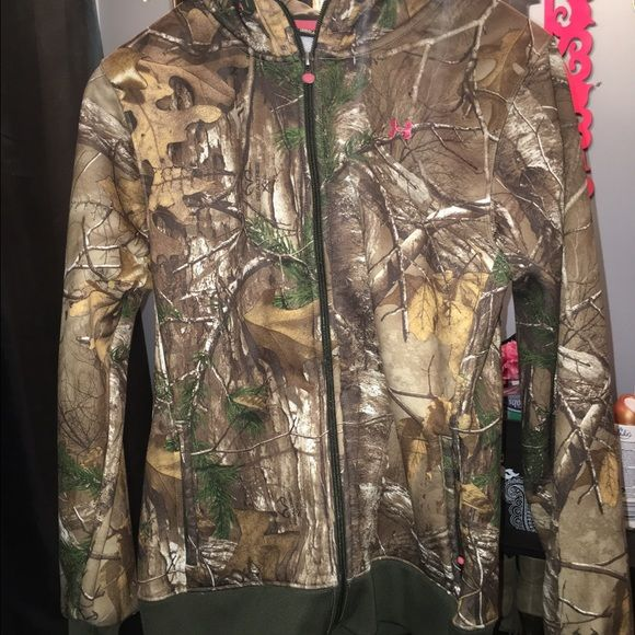Under Armour Camo Jacket Under Armour Camo Jacket! Has dark green on bottom of jacket and end of sleeves. Pink logo on front and back. Size M ($30 with Camo shirt also size M) Under Armour Jackets & Coats