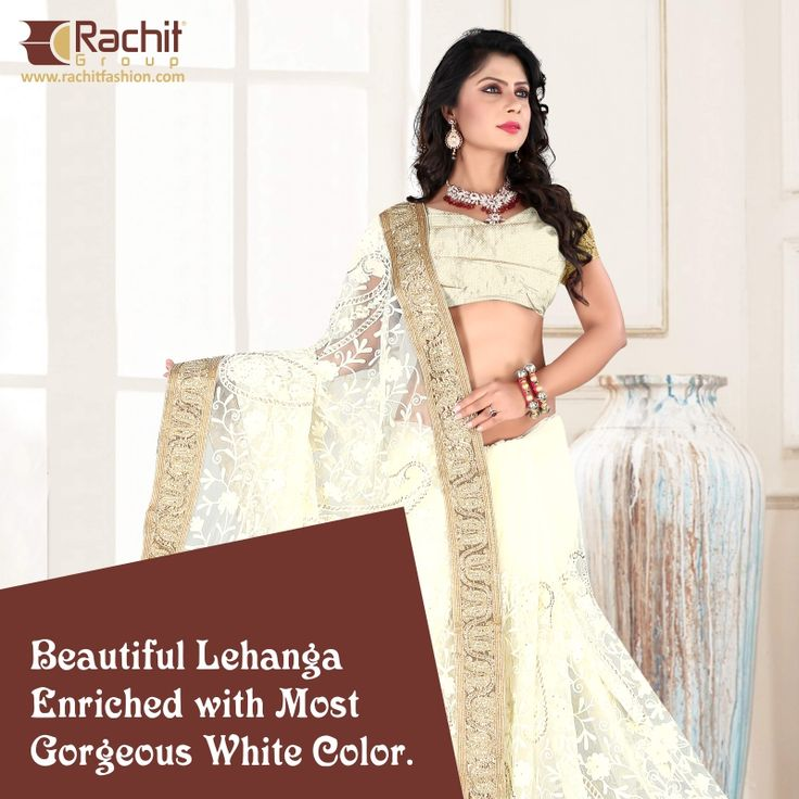 Adorable white Shade Lehanga, Embellished with Golden Duppata Border. Classic Piece, Visit for more: www.rachitfashion.com  #Gorgeous #White #Golden #Shade #Lehanga #Beautiful #Piece #RachitFashion #OnlineShopping