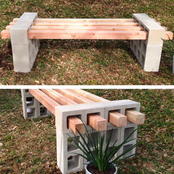 Tuinbank maken van cinderblokken