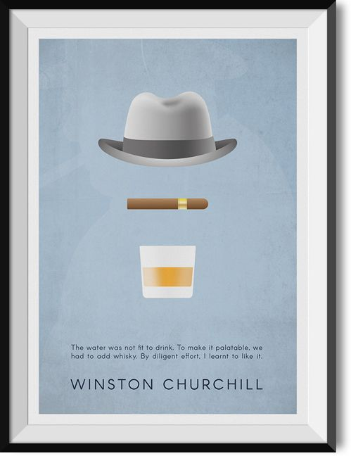 """Churchill """"Whisky"""" quote poster"""
