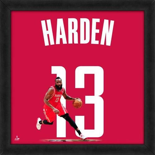Featured is a James Harden framed Houston Rockets jersey photo. This photo has been professionally framed and is approximately 20x20. **Note: This photo is not signed.**