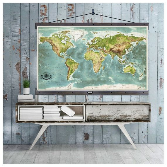 "Modern World  Map. 2016 in Vintage Colors on Canvas. 60""w x 40""h,  Then Most Detailed World Map Available,  Up to date for 2016"
