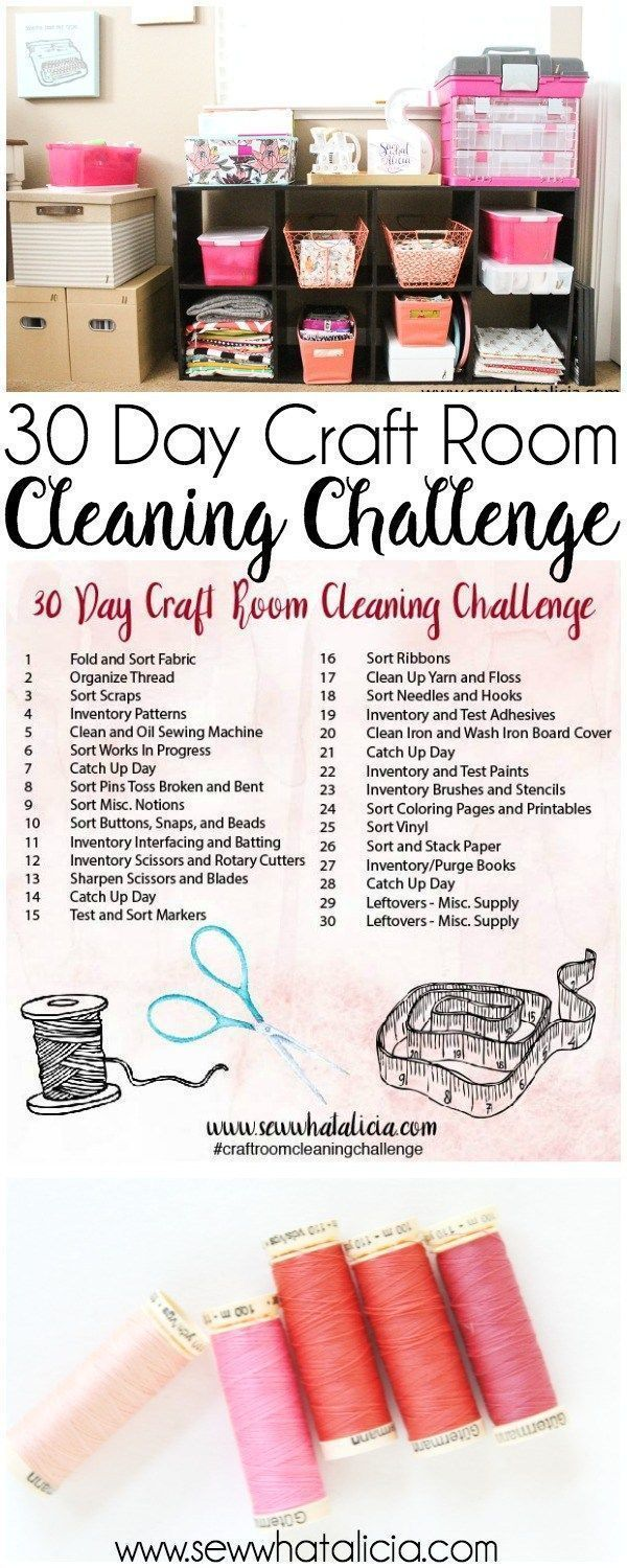 30 Day Craft Room Cleaning Challenge Prompts: Get your craft room organized in 30 days with these small and easy steps. Click through for the full list of actionable items! | www.sewwhatalicia.com #sewing #craftroom #cleaning #organization