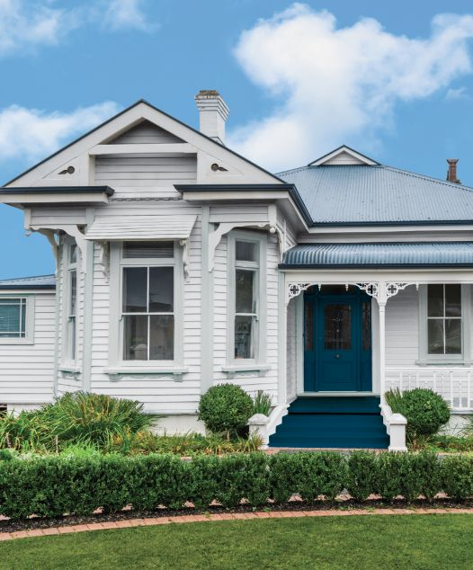 favourite fail-safe combination for a weatherboard home is Taubmans Endure Exterior in January Dawn (walls), Grey Moth (trims) and Elegant Evening (door and stairs).