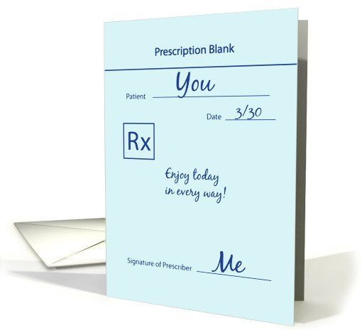 Happy National Doctor's Day Prescription card by Alda Monteschio