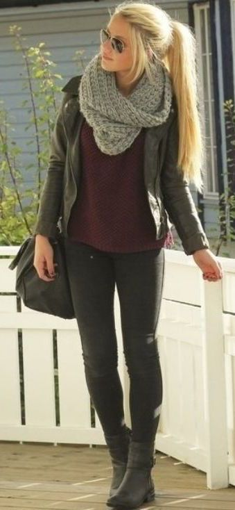 #winter #fashion / leather jacket + scarf