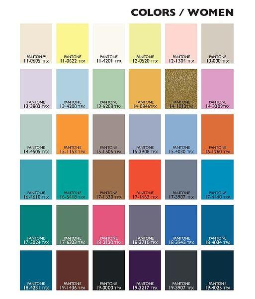 2015 Spring Summer Colour Coding for Women