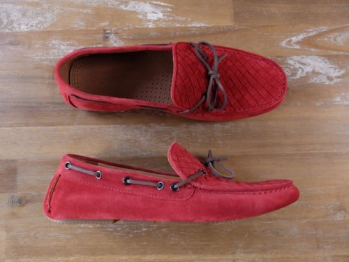auth BOTTEGA VENETA red woven suede loafers shoes - Size 8 US / 7 UK / 41 EU