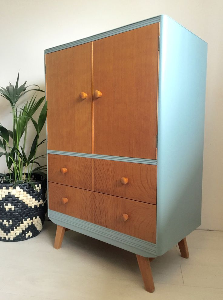 Mid Century 50's 60's Tallboy, Teak and Farrow & Ball Oval Room Blue by BeautifulPigInterior on Etsy