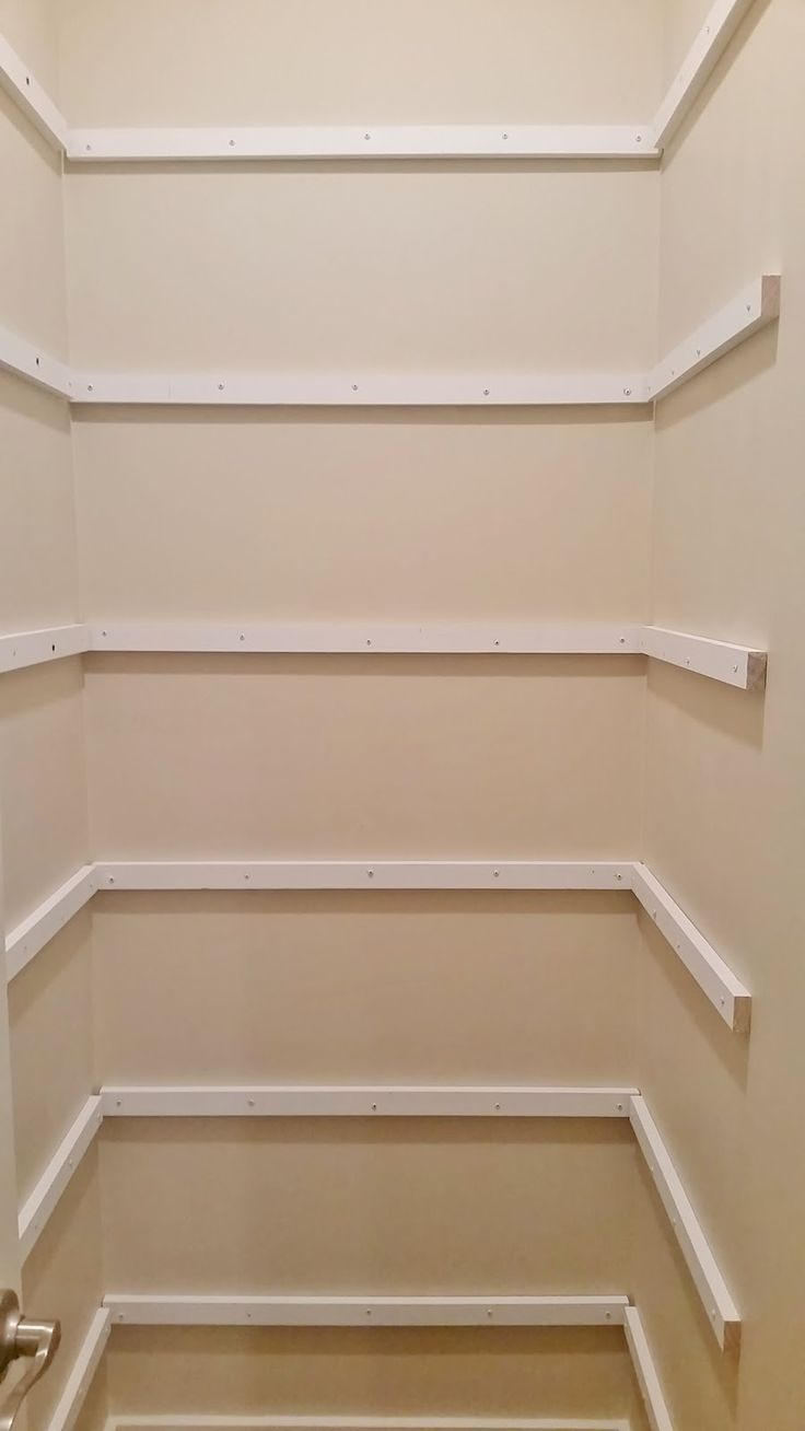 pantry makeover with wrap around shelving