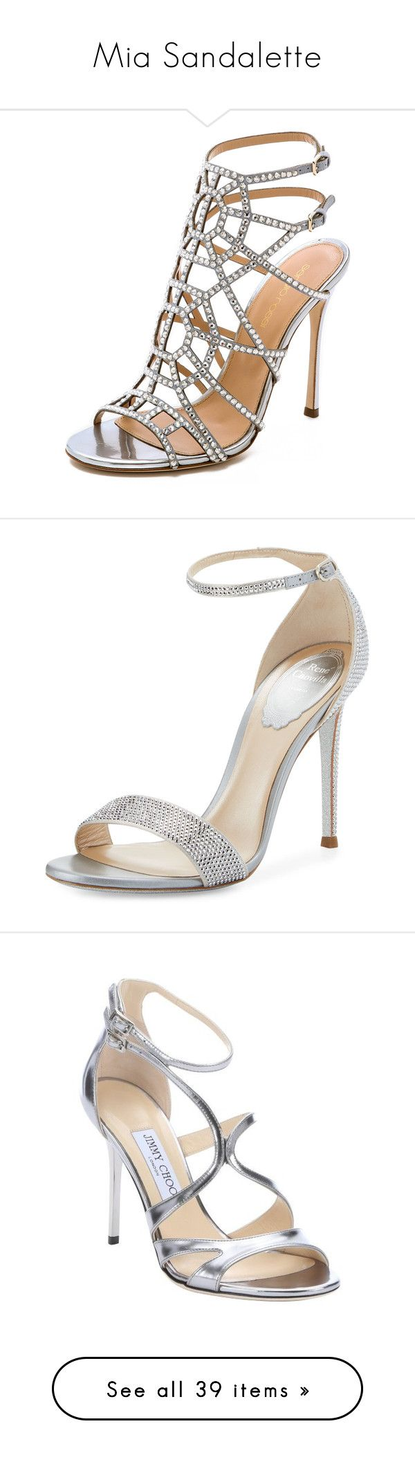 """""""Mia Sandalette"""" by kleinesbiest ❤ liked on Polyvore featuring shoes, sandals, heels, sapatos, high heels, silver, ankle strap high heel sandals, heeled sandals, high heel sandals and high heeled footwear"""