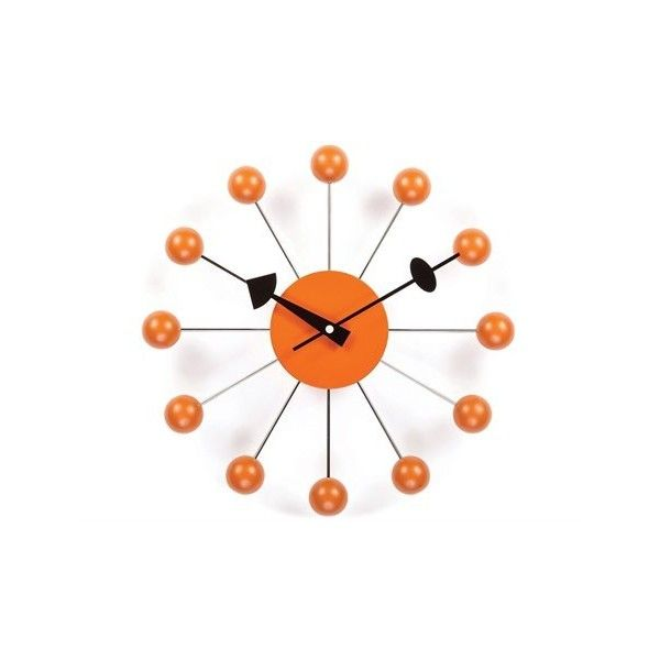 Stilnovo George Nelson By Verichron Ball Orange Wall Clock (€90) ❤ liked on Polyvore featuring home, home decor, clocks, orange clock, battery operated clocks, orange home accessories, orange wall clock and orange home decor