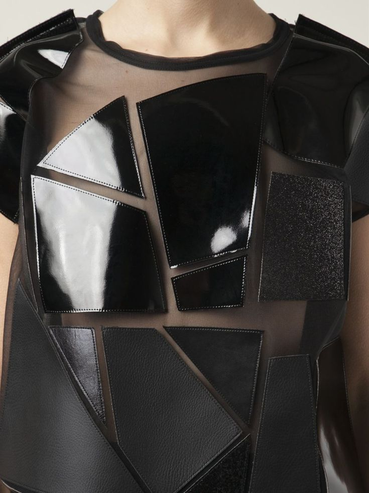 Sheer top with leather applique panels; geometric fashion details; sewing idea // Junya Watanabe Comme des Garcons