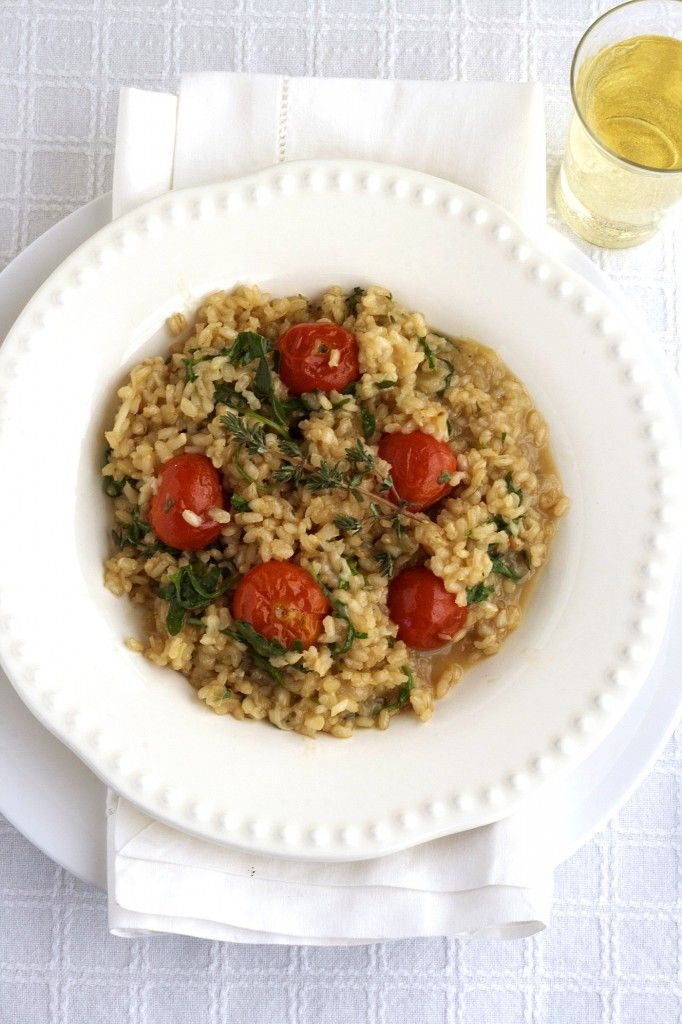 Brown Rice Risotto w/ Roasted Cherry Tomatoes (perhaps I'll sub olive ...
