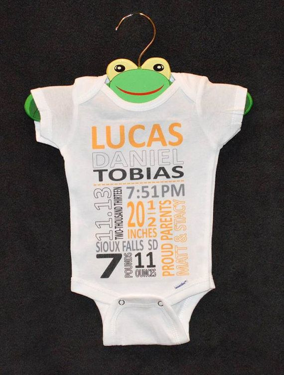 Customized Subway Art Infant Onesie by LittleFroggySurfShop on ETSY - $20  You choose colors and provide all of baby's birth stats!  Great for framing or new baby photo sessions!  Available Here: www.etsy.com/shop/LittleFroggySurfShop