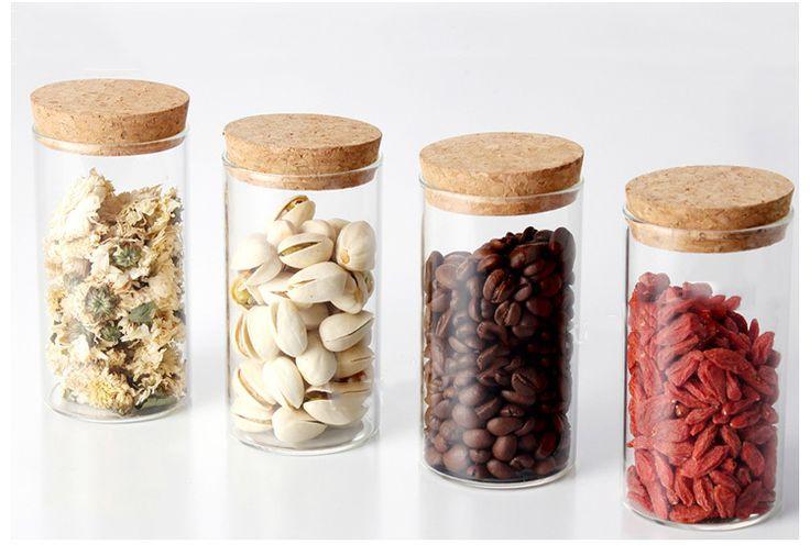 transparante glazen pot deksel kurk vacuüm-Opslag flessen& potten ...