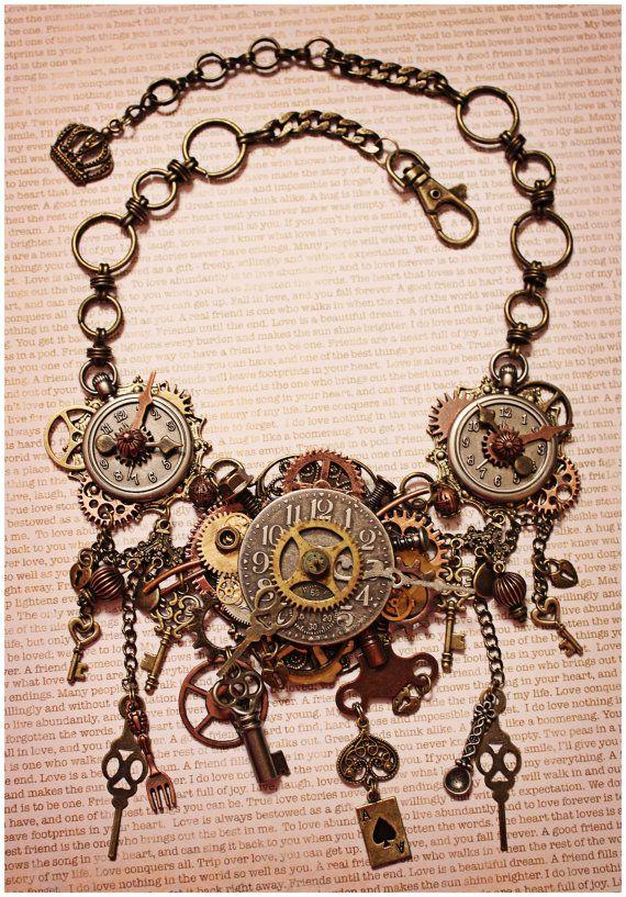 Steampunk Necklace Steampunk Jewelry Clock by AngelaVenableArt