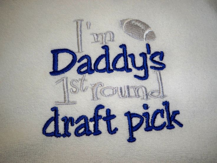 Cowboys Football Bib - I'm Daddy's 1st Round Draft Pick - Dallas Cowboys Baby Bib - Baby Boy Football Bib - Daddys First Round Draft Pick. $7.50, via Etsy.