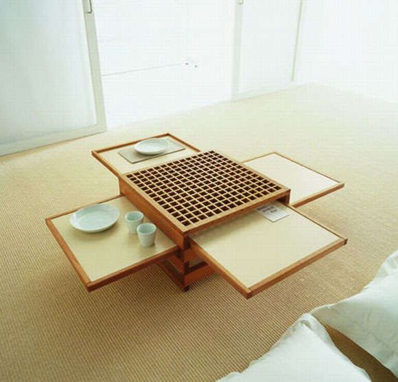 Pull-Out Place Settings: Sculptures Jeux Presents Collapsible Tables that Expand When Needed