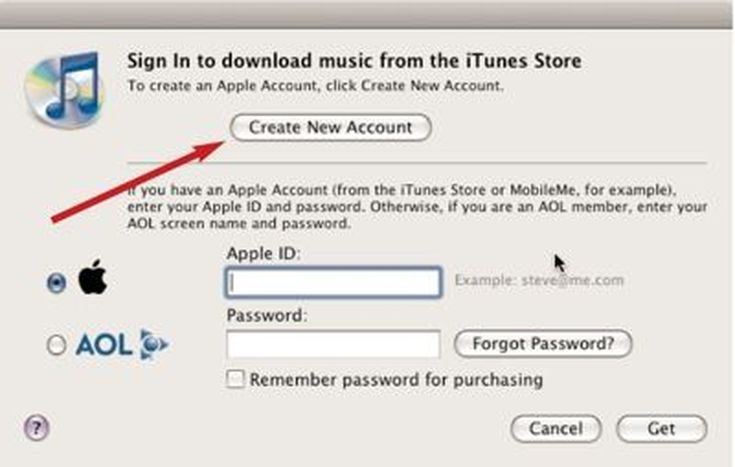 """10 Easy Steps to a Free iTunes Account (No Credit Card Required): Click on """"Create New Account"""""""