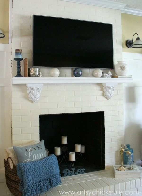 Family Room Update - mantel  full shot -artsychicksrule.com