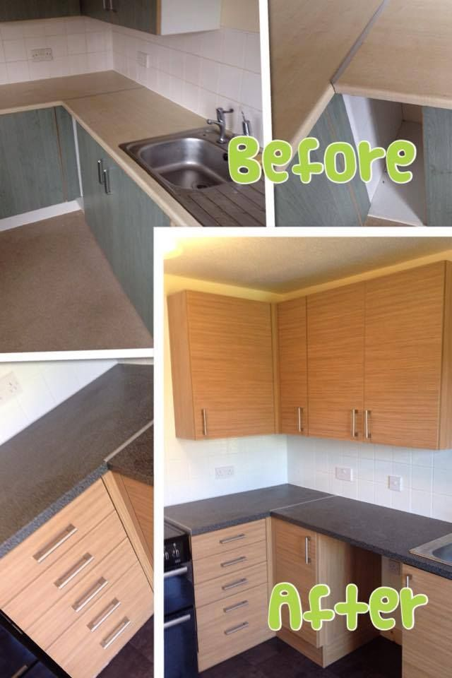 Before and After Pictures of another one of our completed Kitchens. Units: Elements  Worktop: Dakota  Handles: Stainless Cylinder D  Floor: Oxyd Anthracite