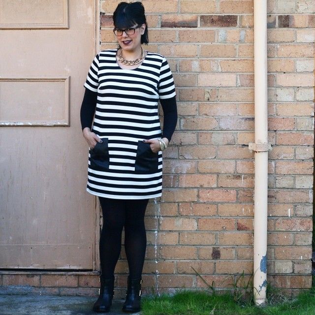 #ootd #sunday #blackandwhite #stripes #piper #myer #dress #mimco #boots & #necklace #seed #bangles #leonaedmiston #opaques #maryportas #armery #sleeves