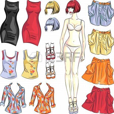 Mode meisje: Cute dress up papieren pop. Body template en outfit in verschillende kleurencombinaties. Stockfoto - 21663766