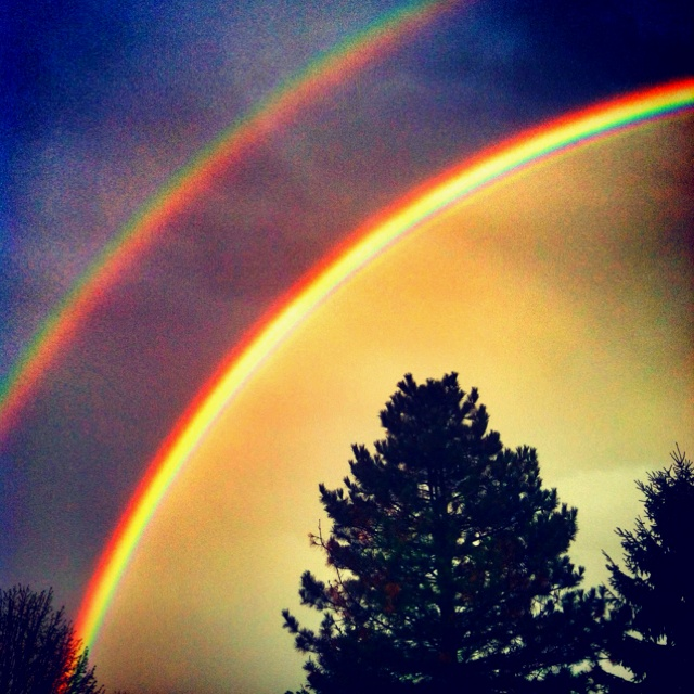 """Taken in iPhone only. Rainbow. Snapseed edit. Nanas backyard after storm. Double. Beautful. Title: """"Everyone wants happiness, no one wants pain. But you can't make a rainbow, without a little rain."""""""
