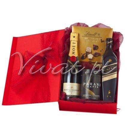 SONATA Gift box Sonata by Vivat http://www.vivat.pl/434,sonata.html Szampan Moet & Chandon Brut Imperial, najsłynniejszy i najbardziej lubiany szampan na świecie Whisky szkocka Johnnie Walker Double Black 0,7 Kawa Parana Espresso Italiano 250 g puszka Bombonierka pralinek Swiss Luxury Selection, Lindt 145 g