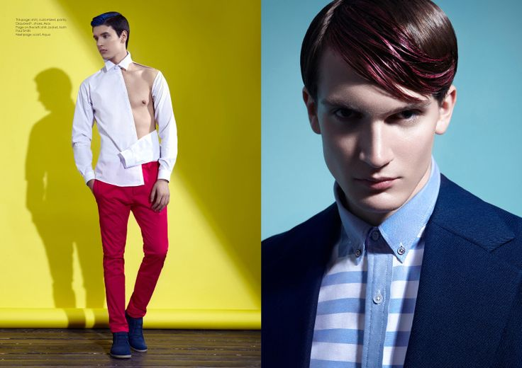 shirt stylist's own, trousers Dsquared2 and shoes Paul Smith. Right: Stas wears shirt and jacket Paul Smith.