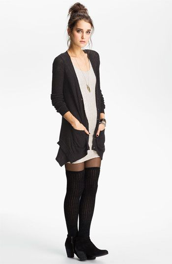 Don't think I could do the thigh high socks, but I love the cardigan the same length as the dress.