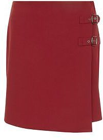 Womens carmine dark red double buckle mini skirt from New Look - £17.99 at ClothingByColour.com