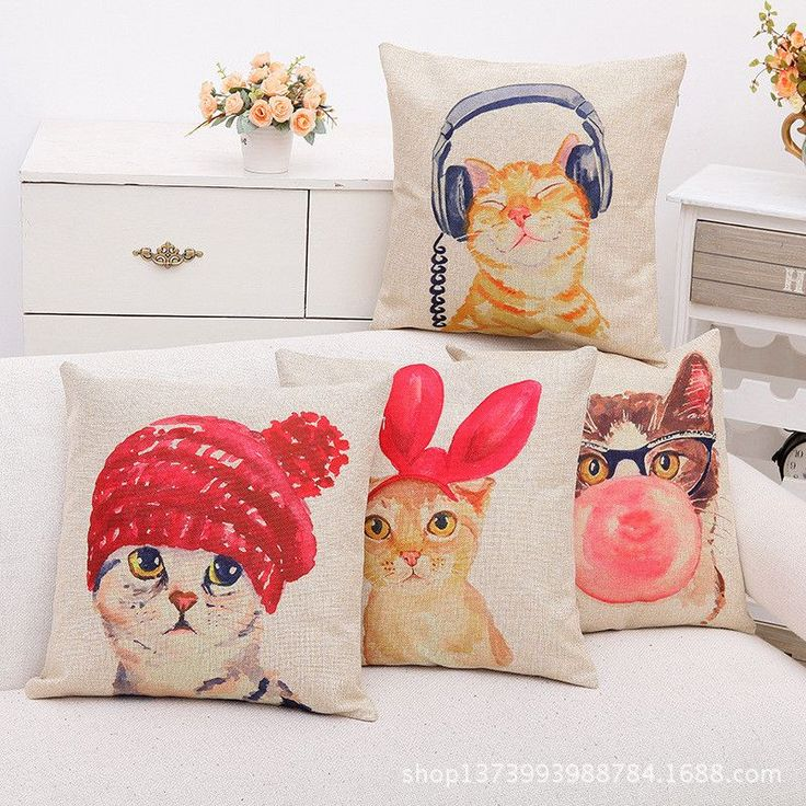 Hipster Cat Printed Cotton Linen Decorative Cushion/Throw Pillow (Does Not Contain Filling) (45 x 45 cm)-Home Decor-Tac City Goods Co.