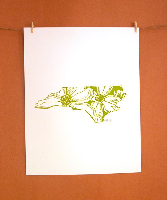 north carolina state flower // letterpress print // via thimblepress on etsy