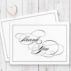 Black And White elegant calligraphy wedding Thank You Cards, Professionally Printed, Peach Perfect Australia