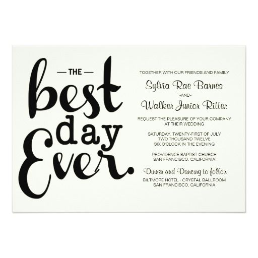 Ivory Best Day Ever Wedding Invitation