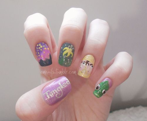 Tangled nails (omnails): Nails Omnails, Tangled Nails, Awesome Nails, Games Nails, Nails Nailart, Disney Nails, Belle S Nails, Nail Art, Gorgeous Nails