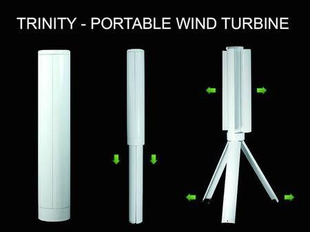 Trinity portable vertical axis wind turbine