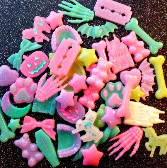 Creepy Cute Cabochons Mix / Pastel Goth by SpookySupplyShop