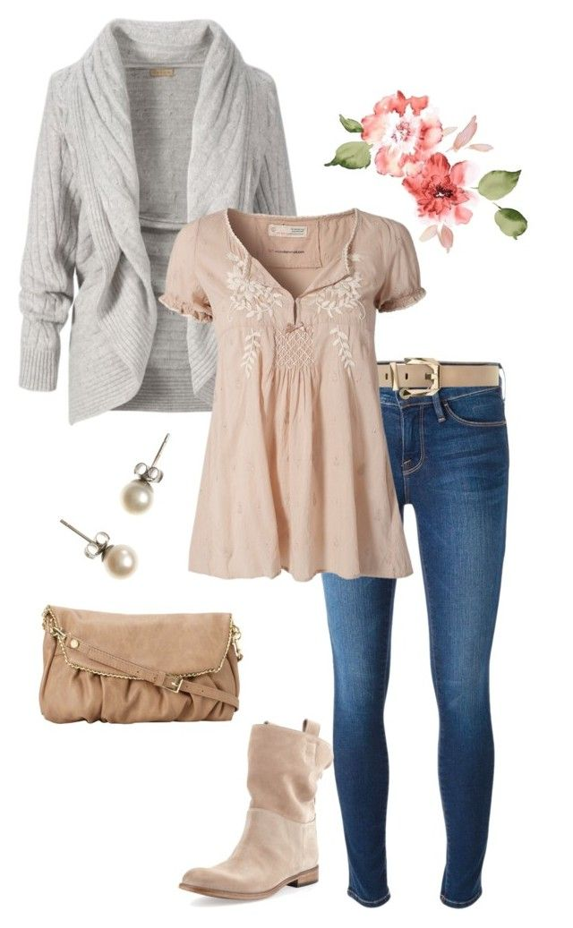"""friday romantic chic 2"" by miss-hummingbird on Polyvore featuring Frame Denim, Linea, Alberto Fermani, J.Crew, Steve Madden, casual, romantic, nude and CasualChic"