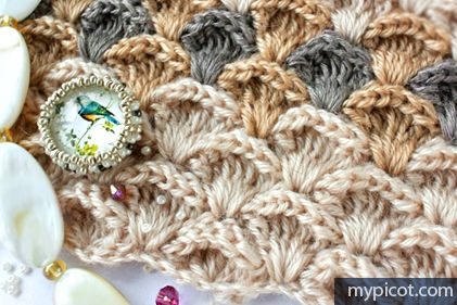 Textured stitch pattern - diagram and step by step instructions on MyPicot   Free crochet patterns
