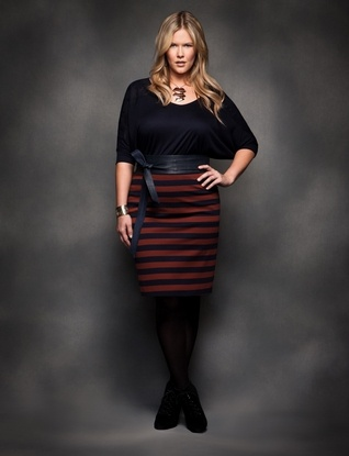 another cute work outfit (plus size) - I would probably avoid the stripes on the skirt though...