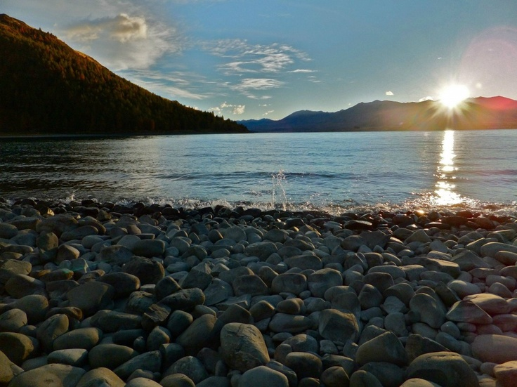 Lake Tekapo, New Zealand: it is LOVELY here: shells all over the sand--not all broken shells, mostly whole/half=gorgeous!!!!!: Sunrise