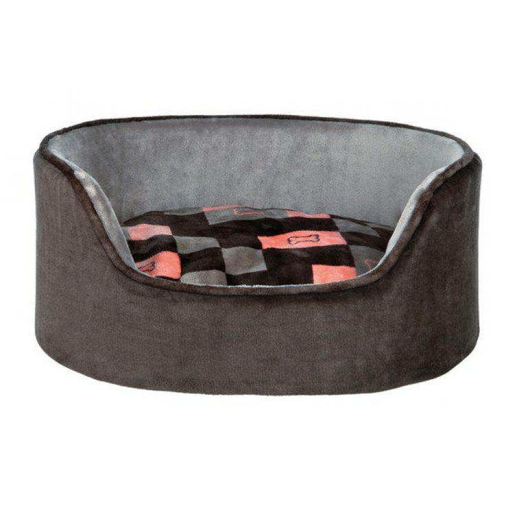 Pelech oválný plyšový CURRITO šedý/losos 70x55 cm